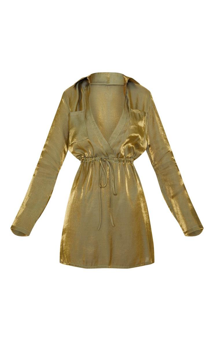 Green Metallic Iridescent Tie Waist Shift Dress 3