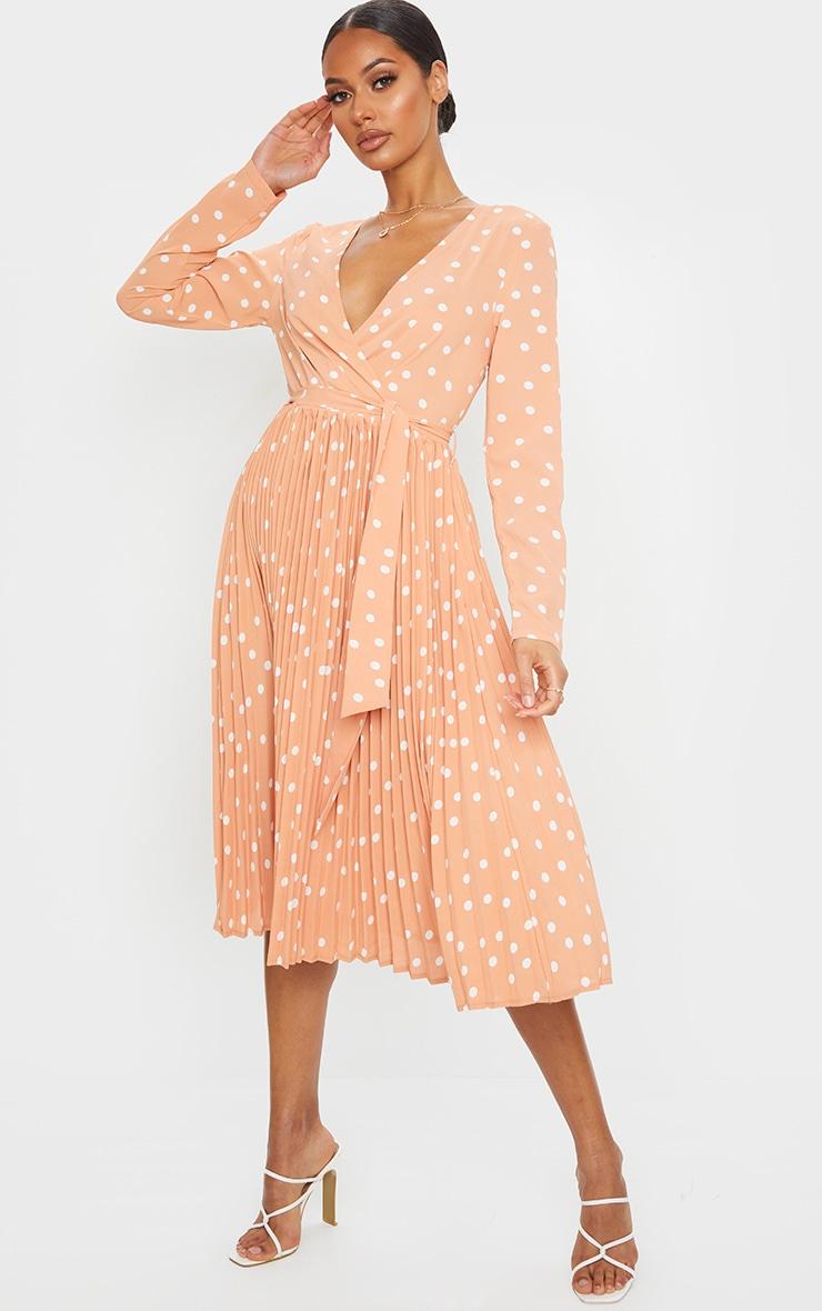 Robe mandarine imprimé pois mi-longue plissée à manches longues 1