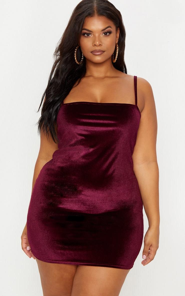 Plus Burgundy Velvet Straight Neck Bodycon Dress 1