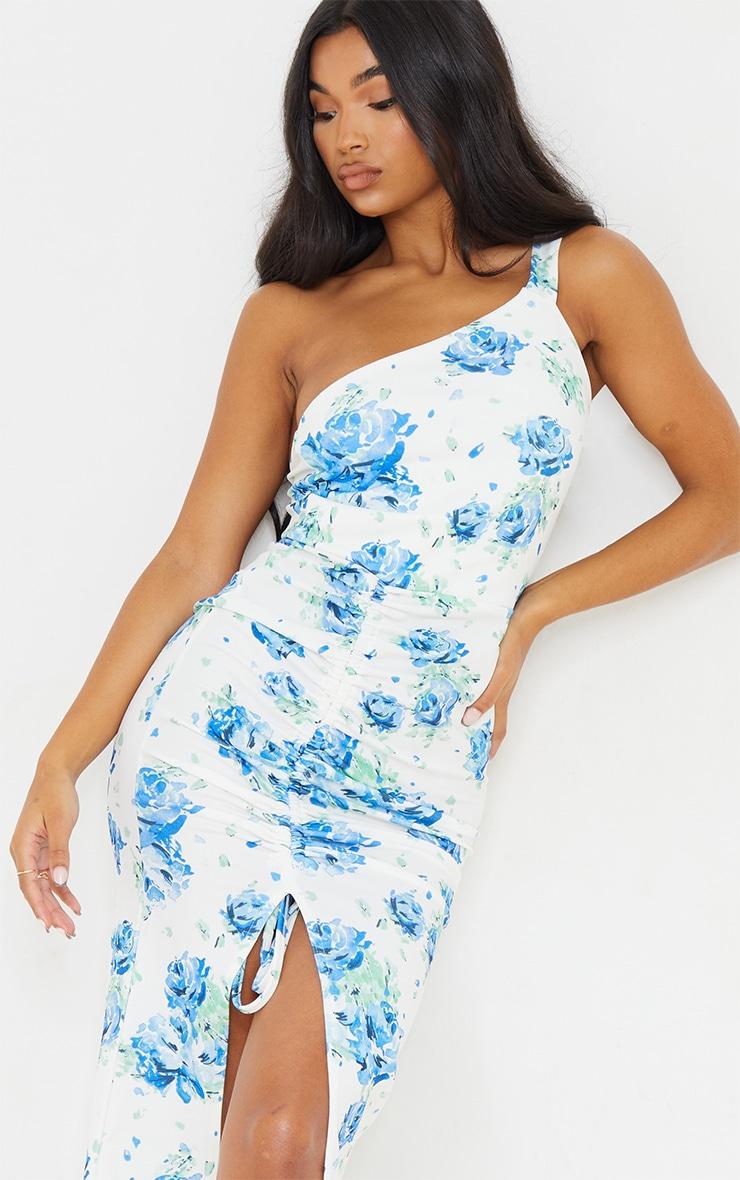 Blue Floral Print Ruched One Shoulder Midi Dress 4