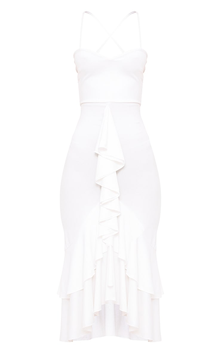 White Strappy Ruffle Front Midi Dress 3