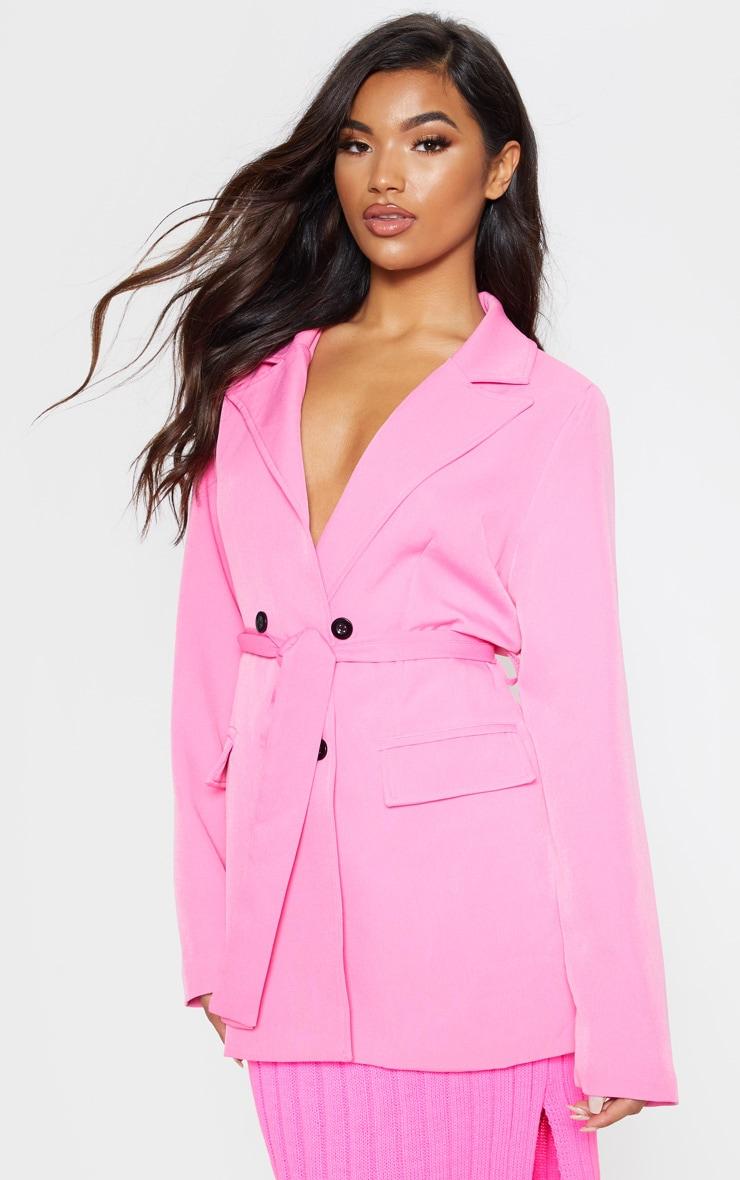 Pink Belted Longline Blazer