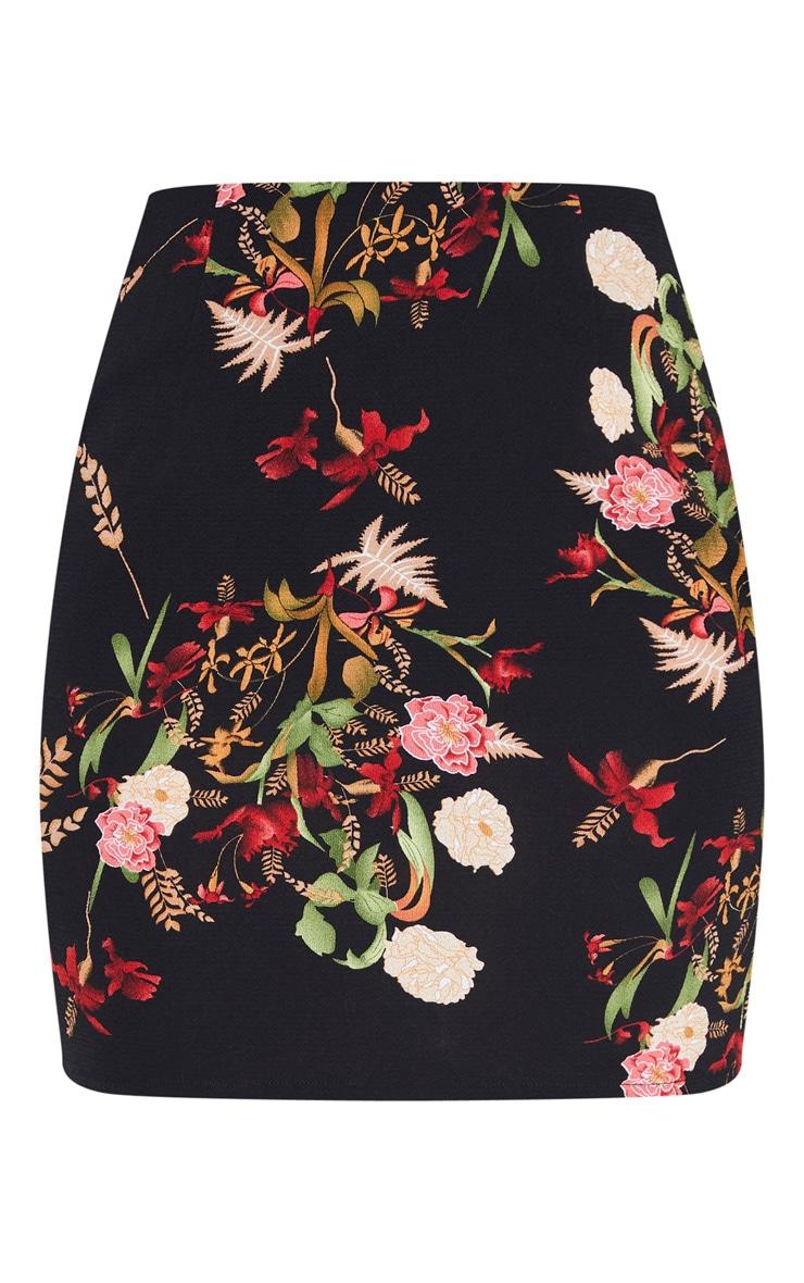 Black Base Oriental Print Mini Skirt   3