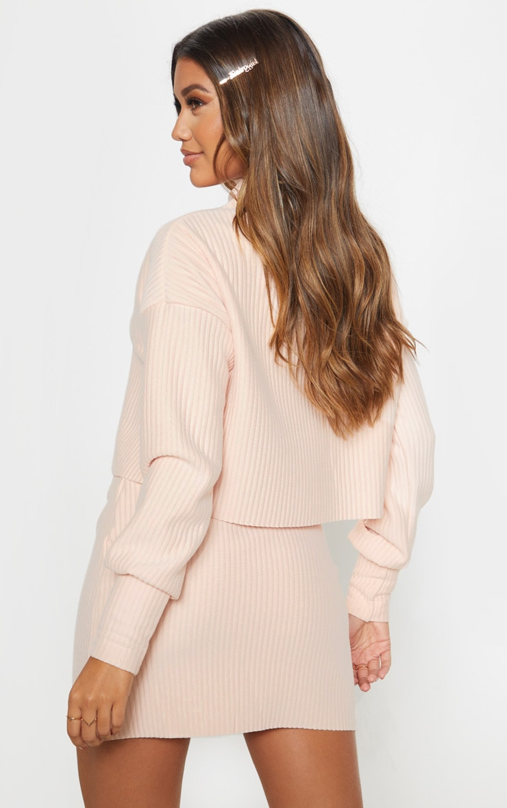 Blush Jumbo Rib High Neck Long Sleeve Sweater 2
