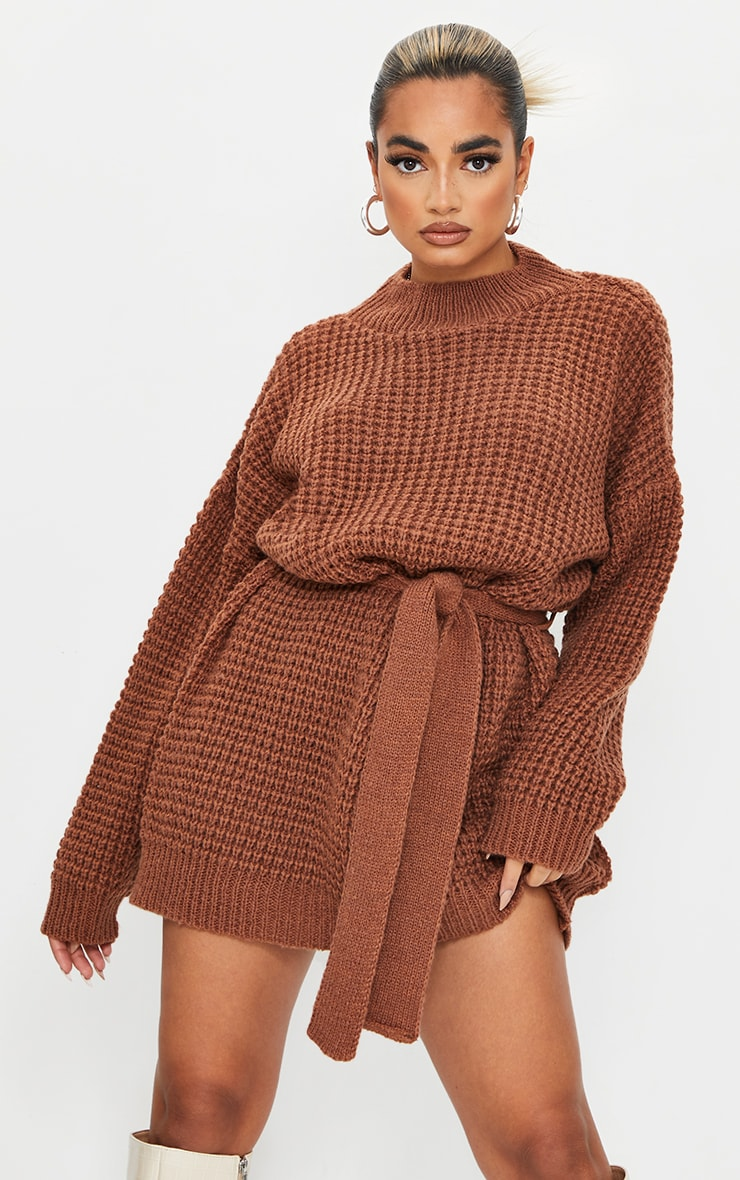 Petite Chocolate Touch Belted Knitted Jumper Dress 4