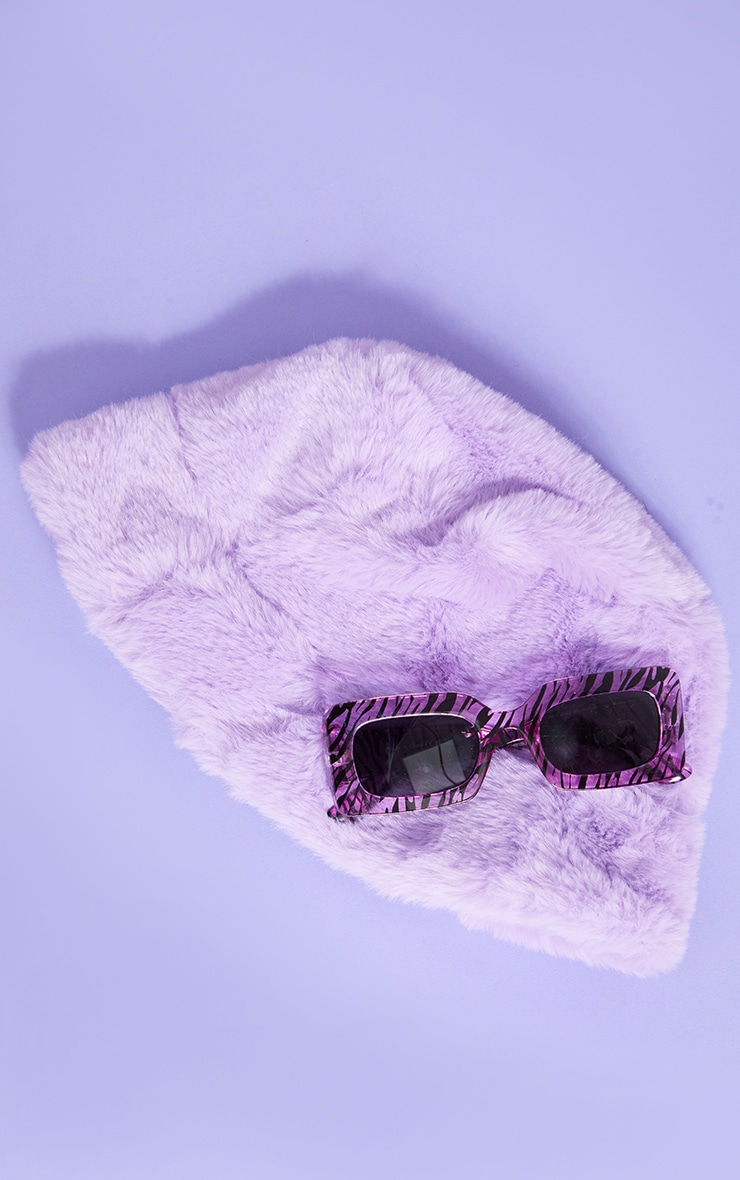 Lilac Faux Fur Bucket Hat 1