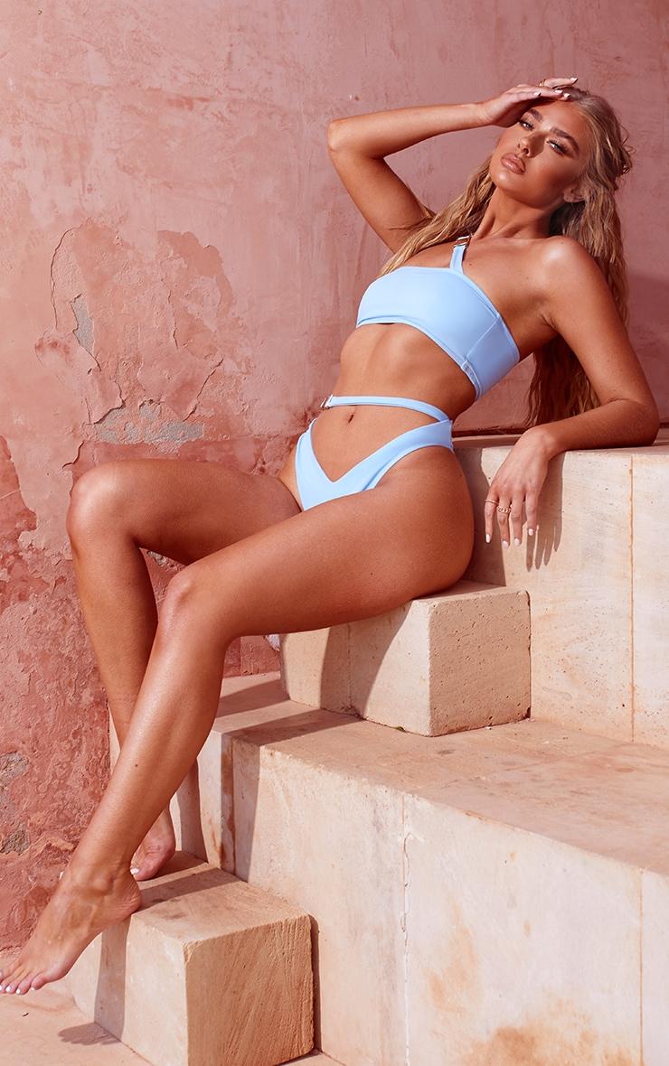 Blue Buckle Asymmetric Bandeau Bikini Top 3