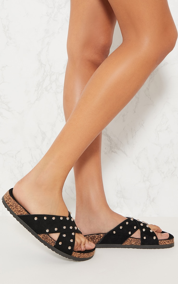 Black Cross Strap Studded Footbed 1