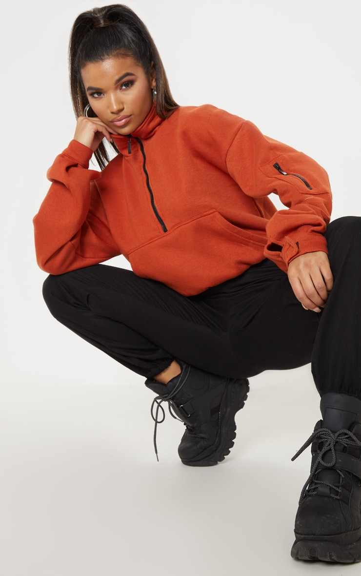 Rust Oversized Zip Front Sweater  4