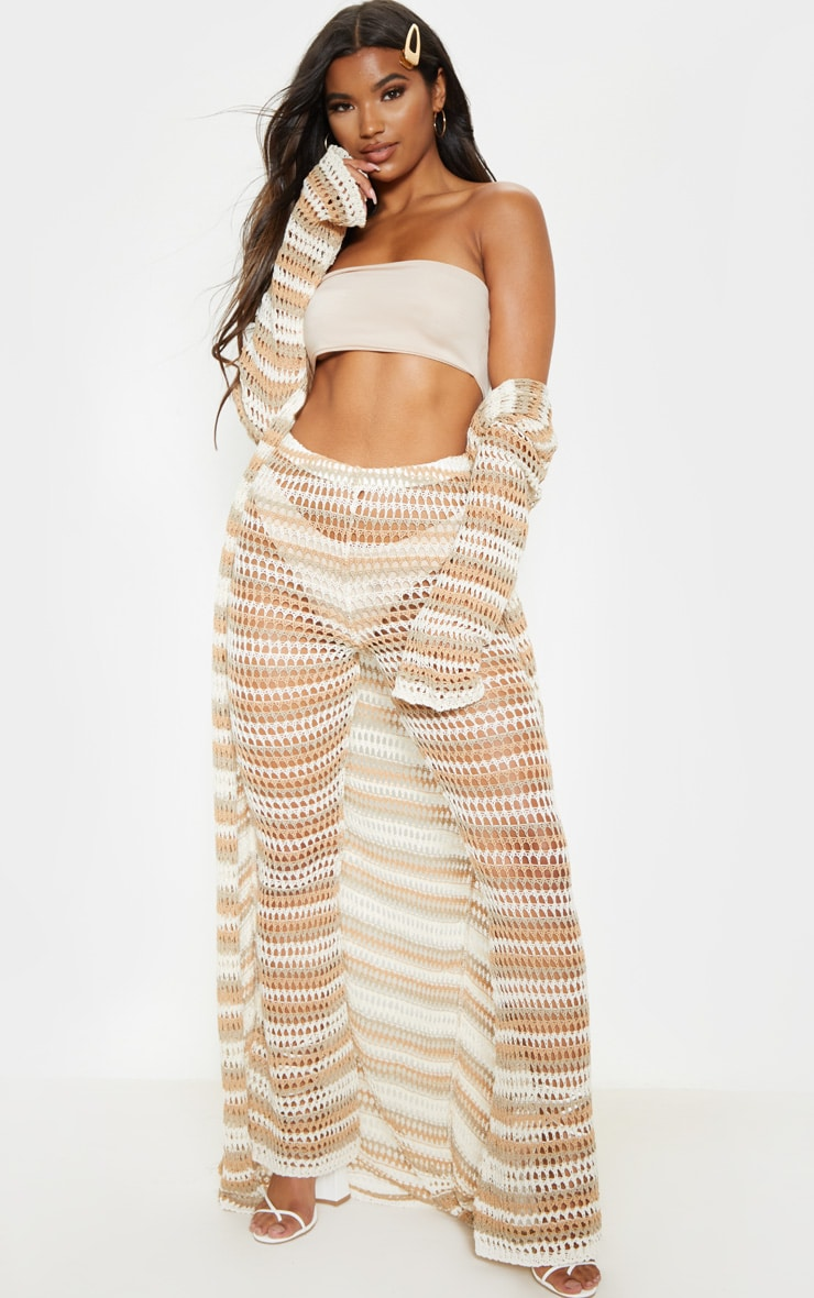 Stone Crochet Stripe Knitted Pants 1