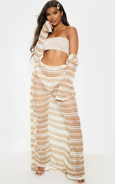 Stone Crochet Stripe Knitted Trouser