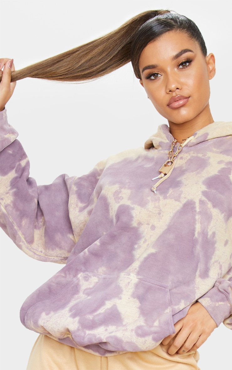 Washed Violet Acid Wash Oversized Hoodie 5