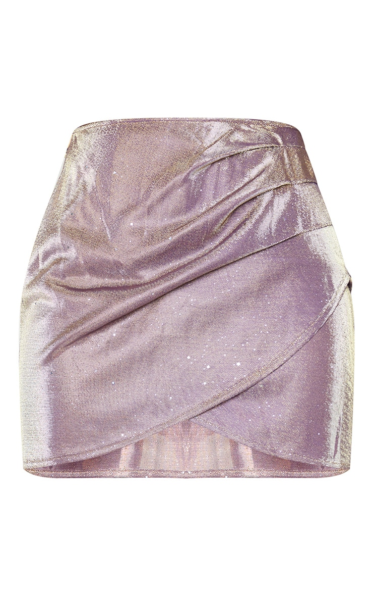 Lilac Textured Glitter Print Woven Panel Front Mini Skirt 6