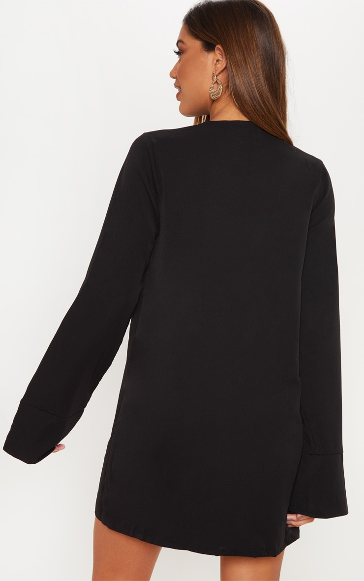 Black Plunge Flare Sleeve Blazer Dress 2