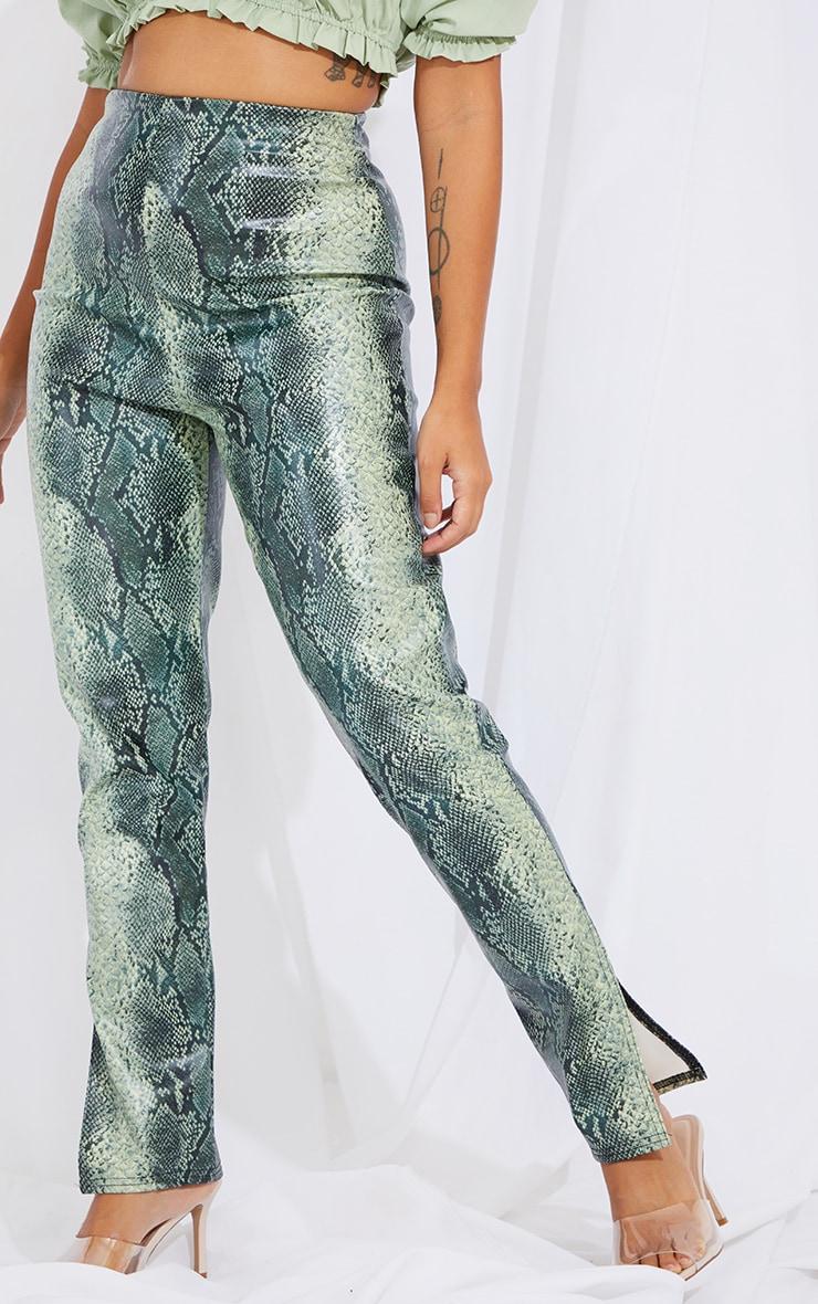 Petite Green Snake Print Split Hem Pants 2