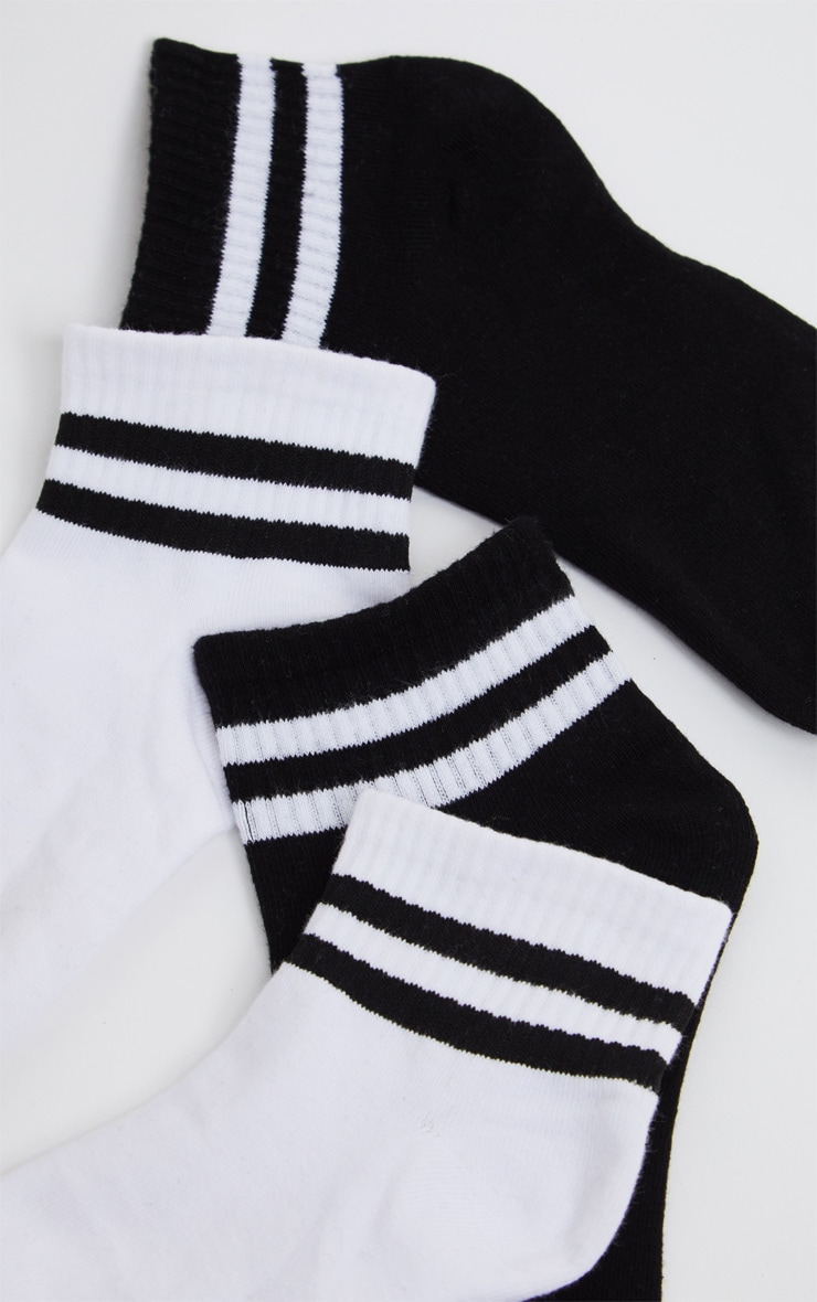 Black And White Two Pack Ankle Socks 4