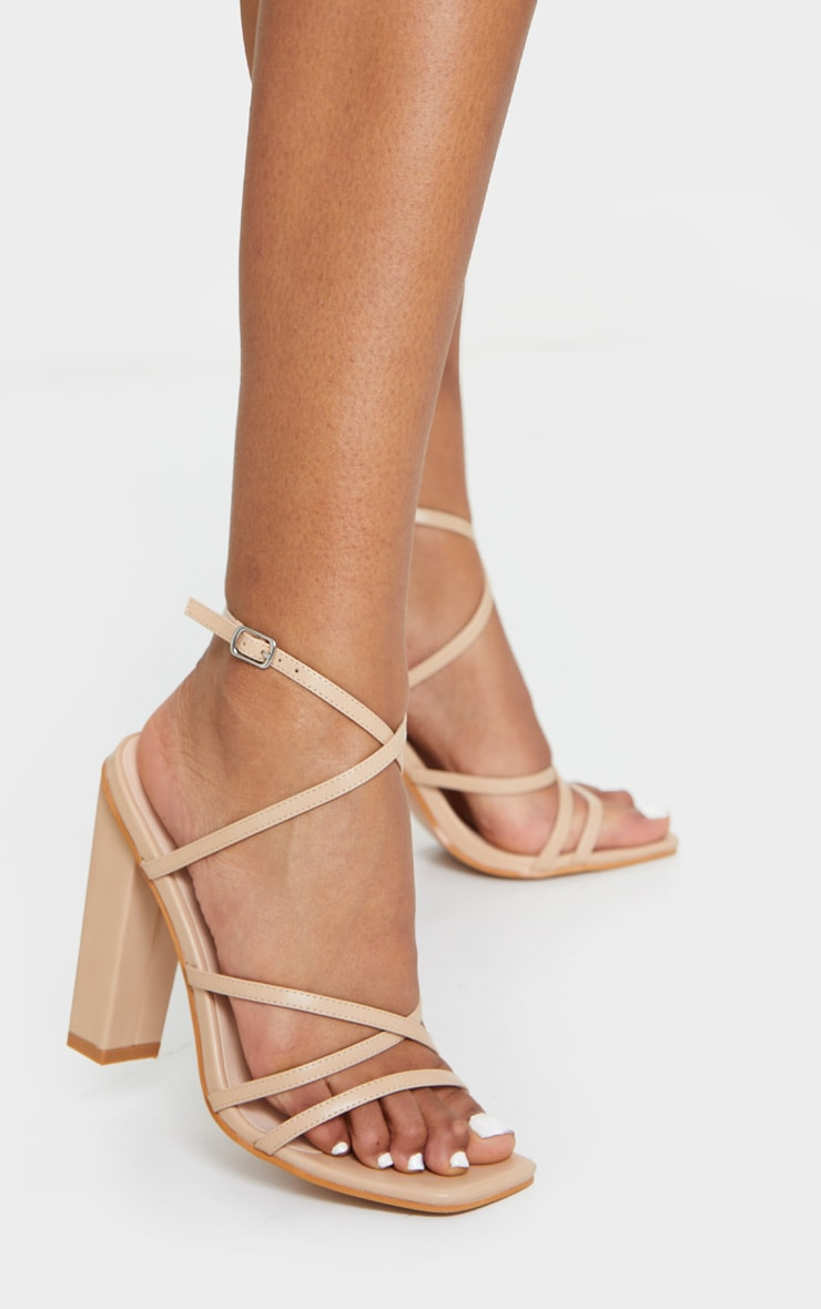 Nude Chunky Heel Strappy Square Toe Heeled Sandals image 1