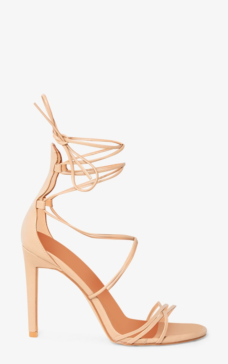Elaine Nude Lace Up Strappy Heels 2