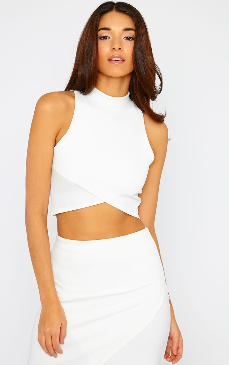 Lia Cream High Neck Wrap Crop Top 4