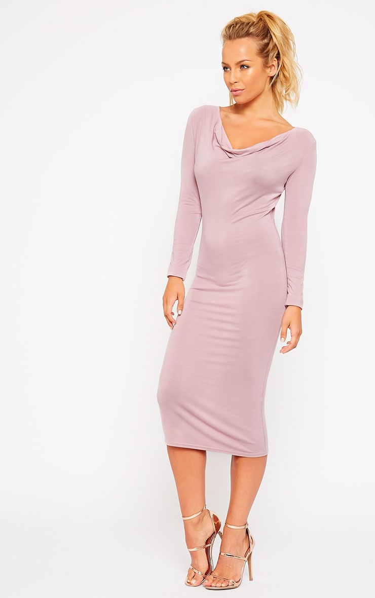 Lise Mauve Jersey Cowl Neck Midi Dress 1