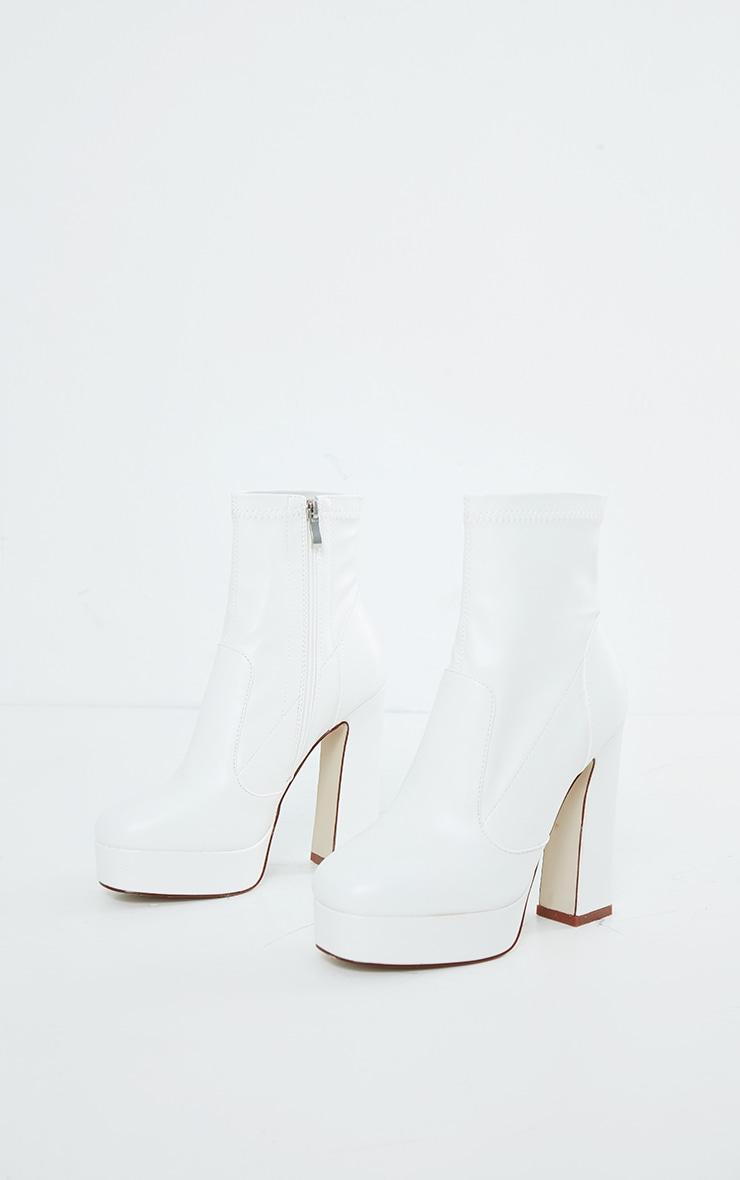 White Platform Block Heel PU Sock Boots 4