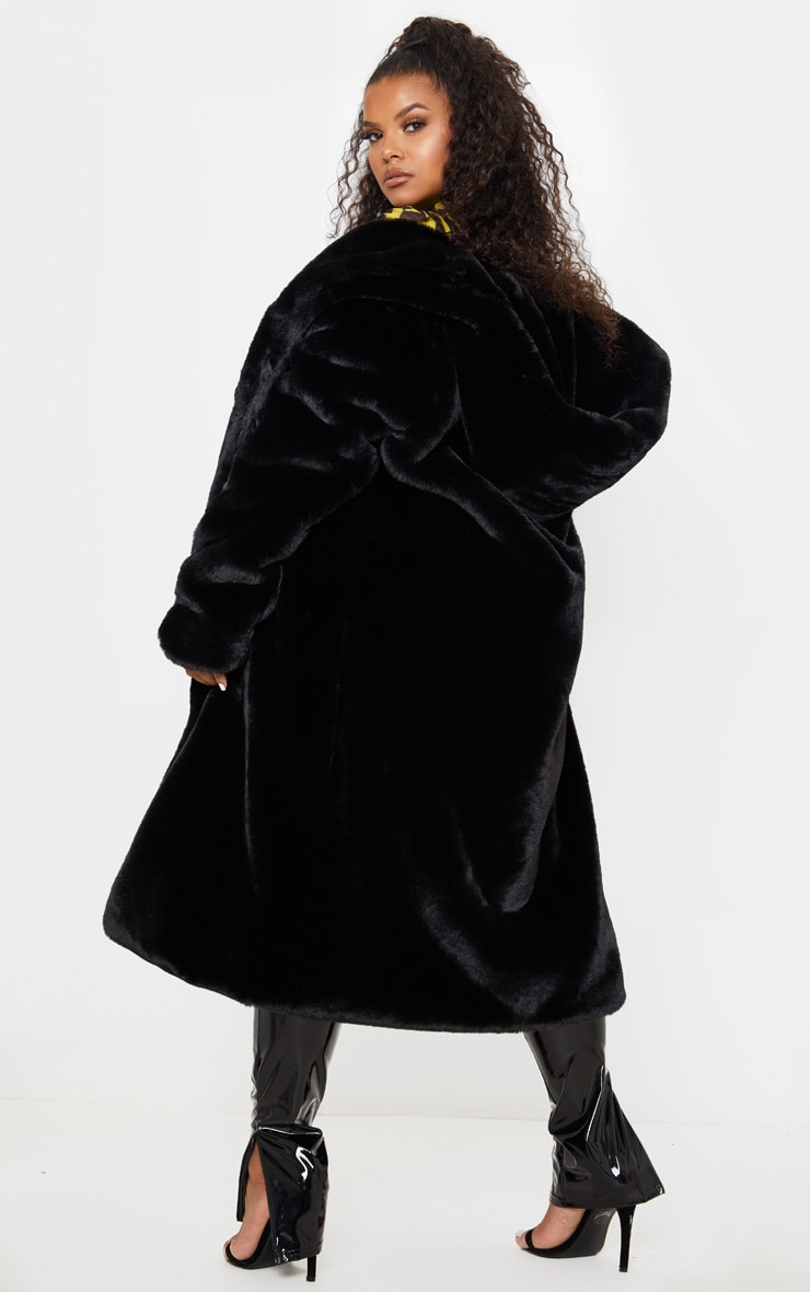Plus Black Premium Longline Faux Fur Hooded Coat 2