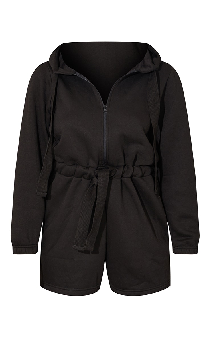 Black Tie Detail Sweat Hooded Playsuit 5