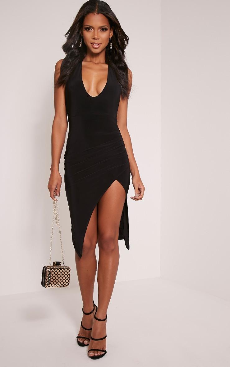 Saskia Black Halterneck Plunge Ruched Midi Dress 1