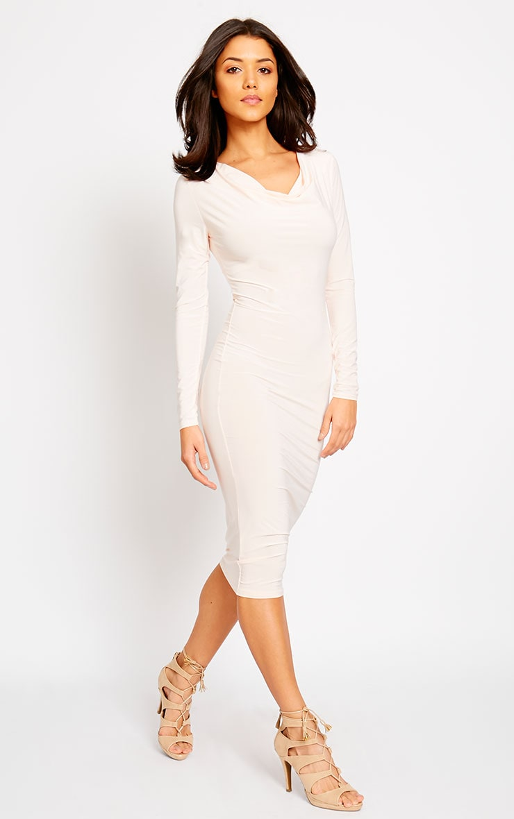 Ziva Nude Slinky Cowl Neck Midi Dress 1