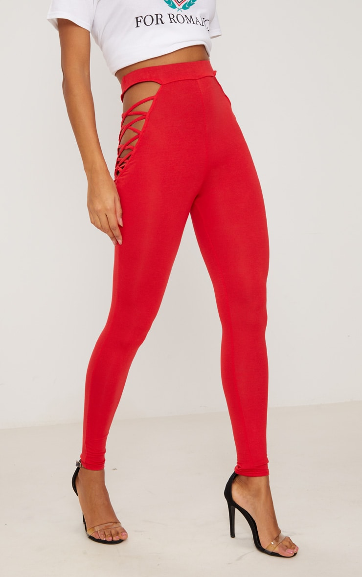 Red Jersey Lace Up Insert Leggings 2