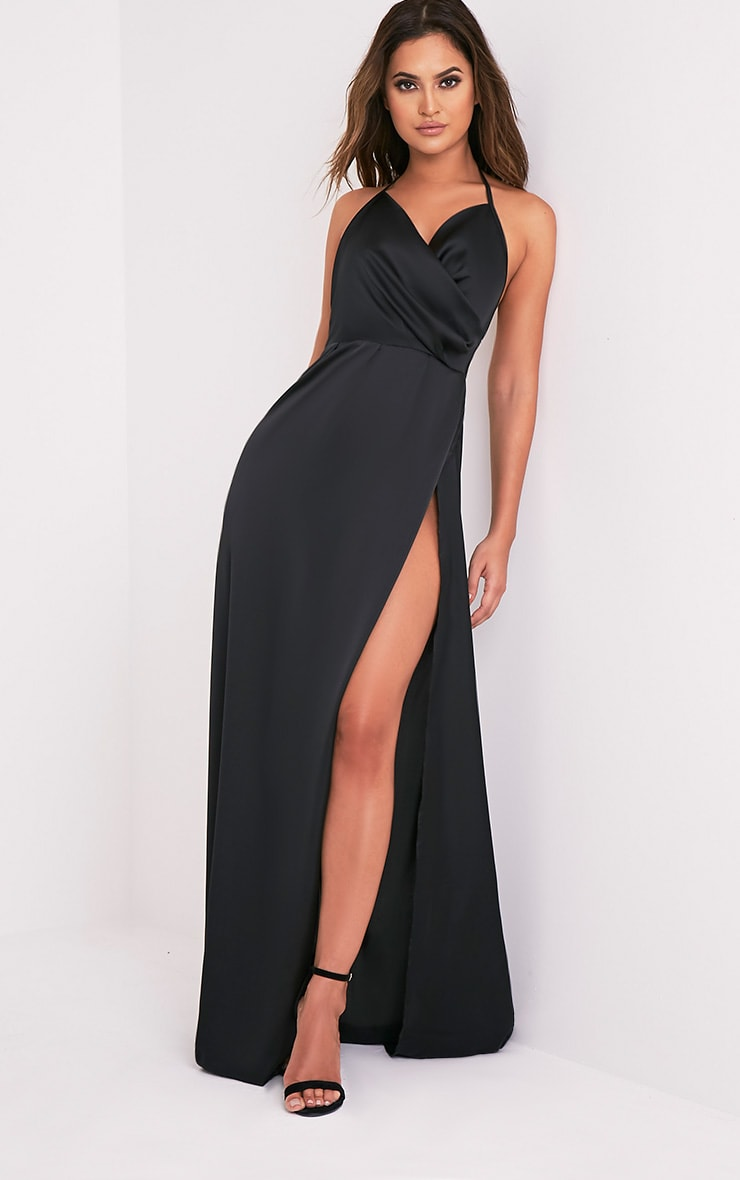 Lucie Black Silky Plunge Extreme Split Maxi Dress 1