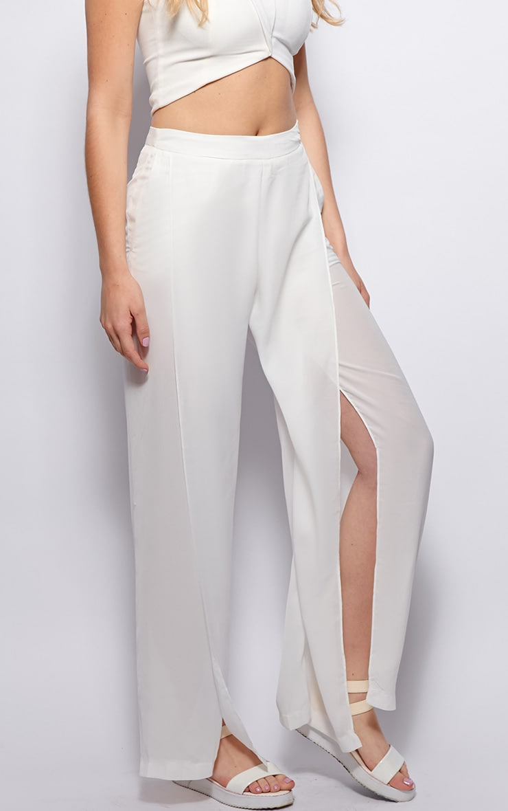 Natasha White Side Split Trousers 4