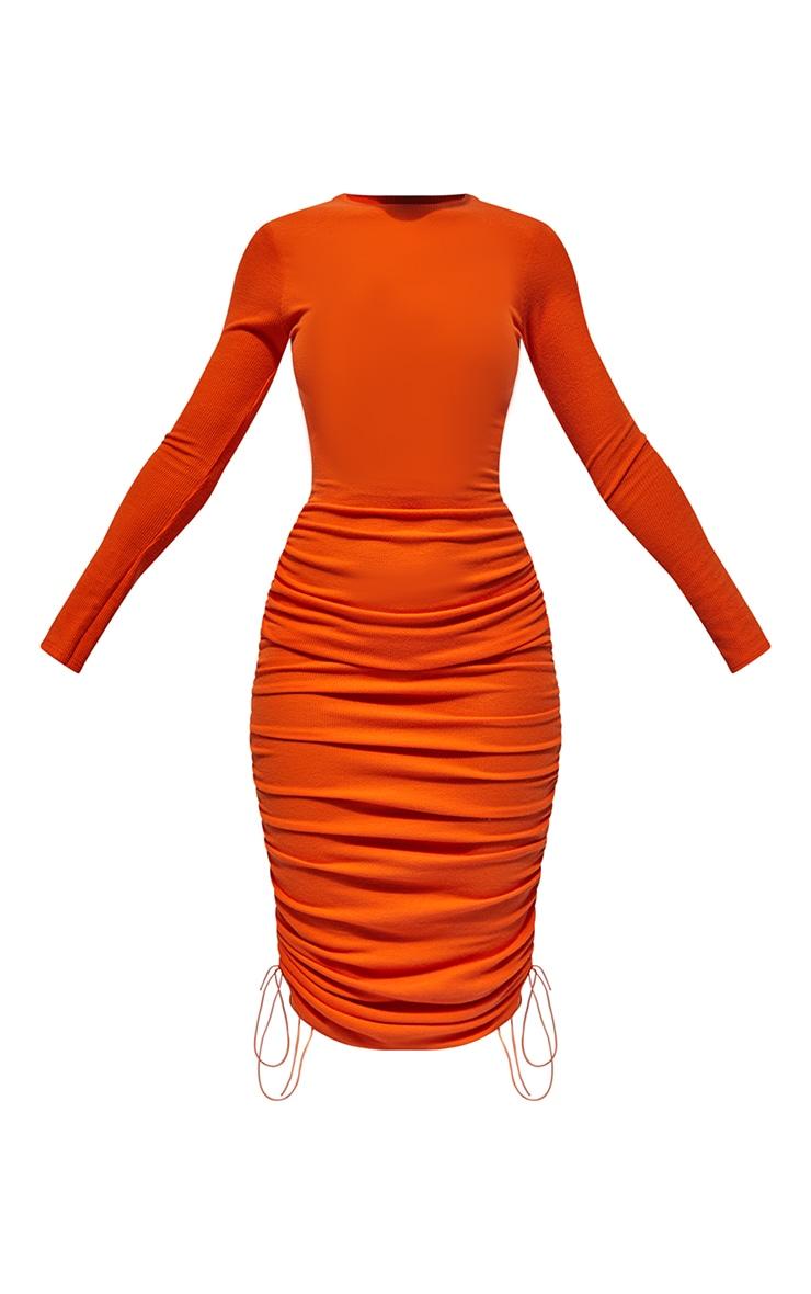 Orange Ribbed Long Sleeve Ruched Midi Dress 5