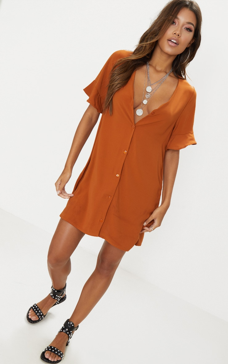 Rust Button Through Frill Sleeve Dress 4