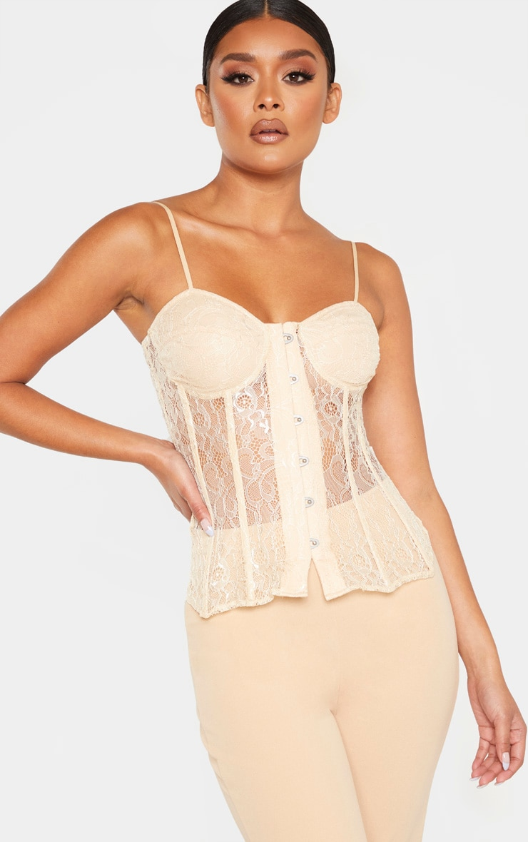 Nude Lace Hook and Eye Long Corset Top