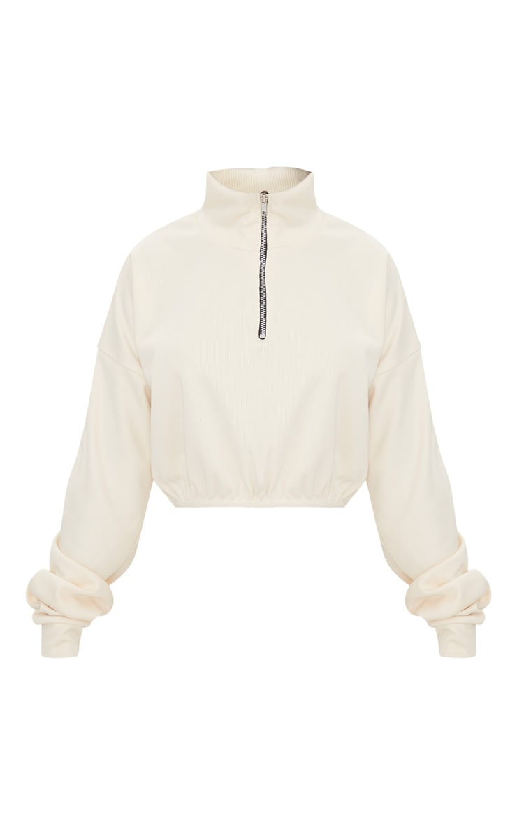 Cream Rib Zip Front Long Sleeve Sweater 4