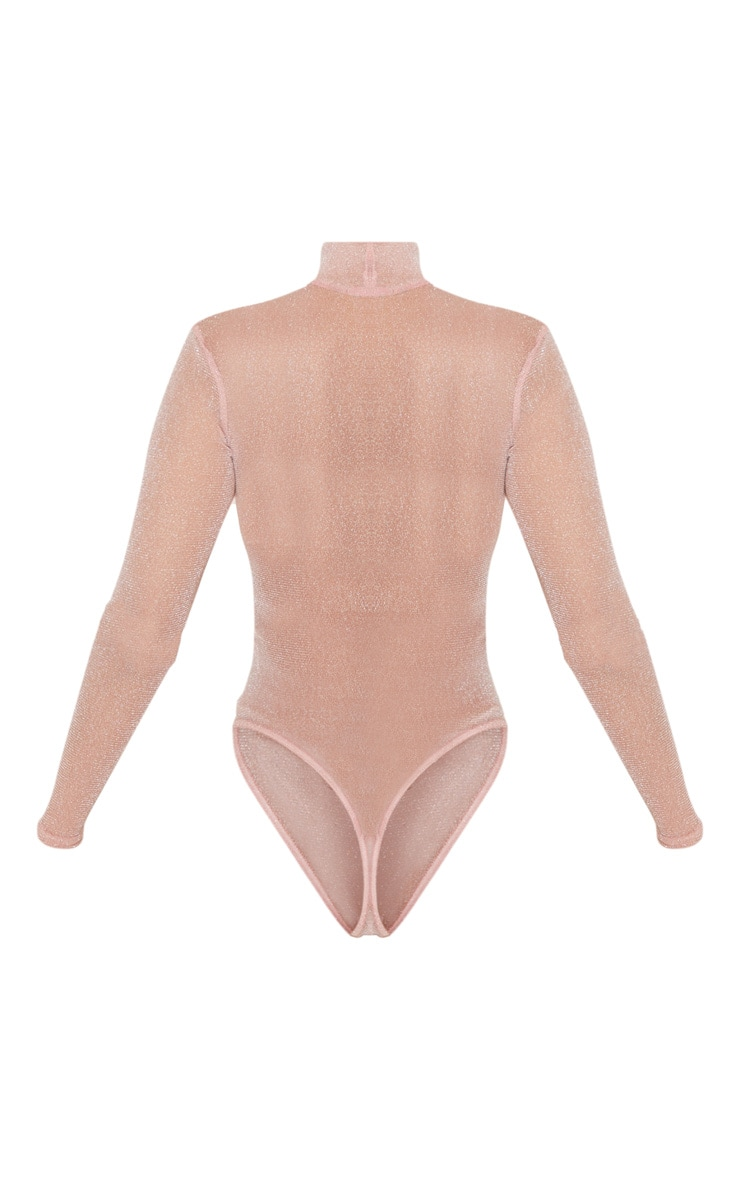Light Pink Sheer Glitter High Neck Bodysuit 4