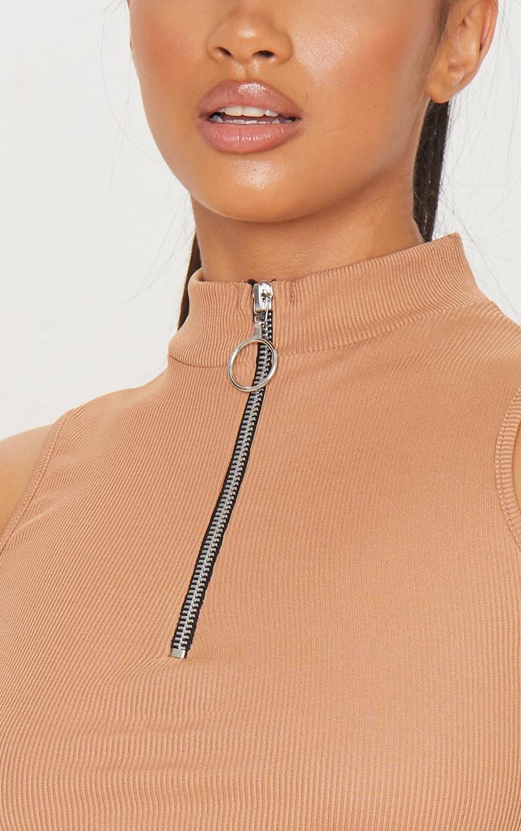 Petite Deep Tan Ribbed Zip High Neck Crop Top 4