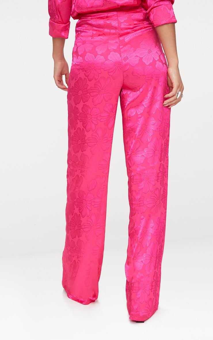 Hot Pink Jacquard Satin Wide Leg Trousers  5