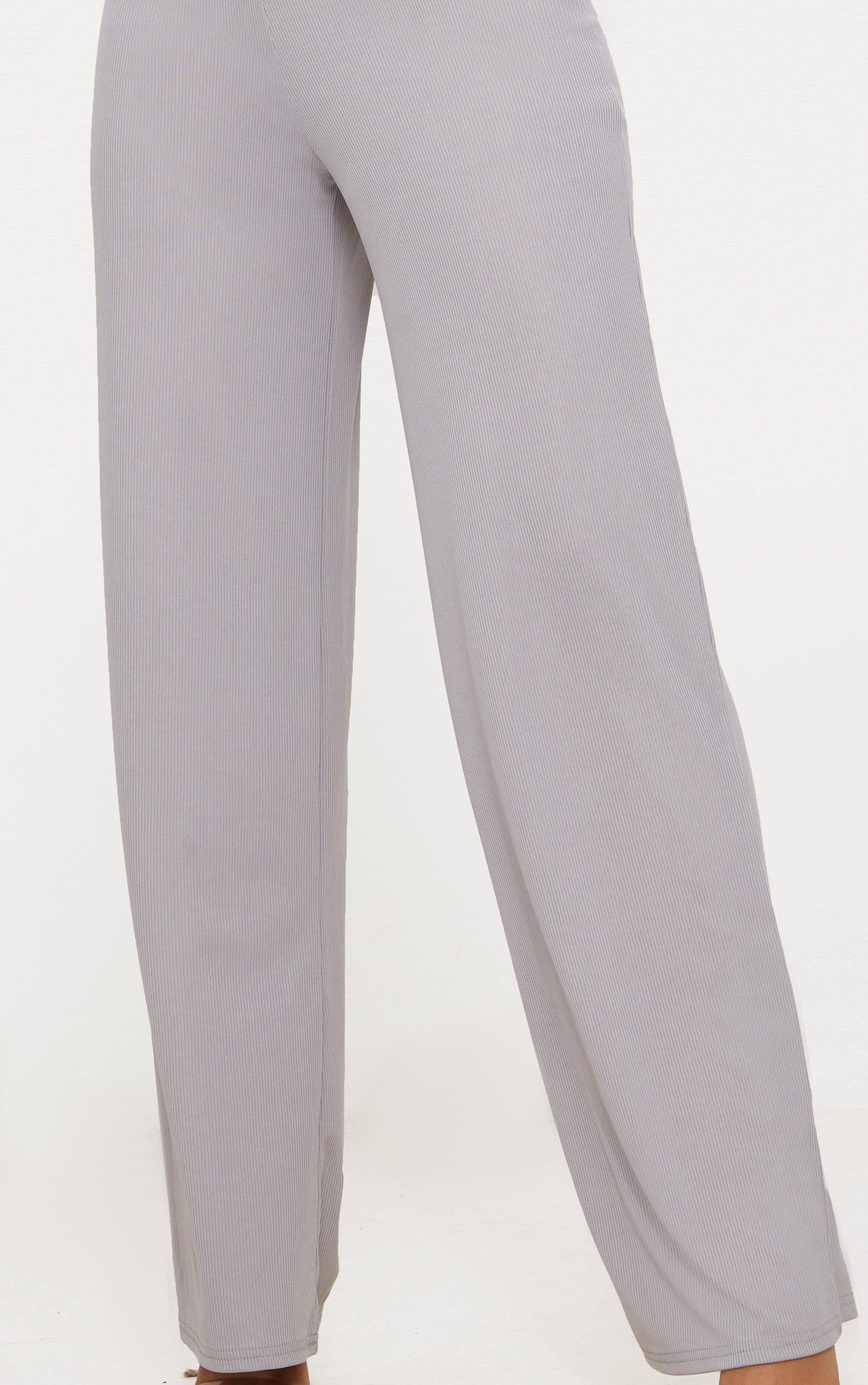 Grey Wide Leg Rib Trousers 5