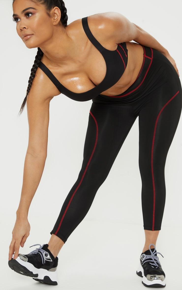Black Contrast Stitch 3/4 Gym Legging 2