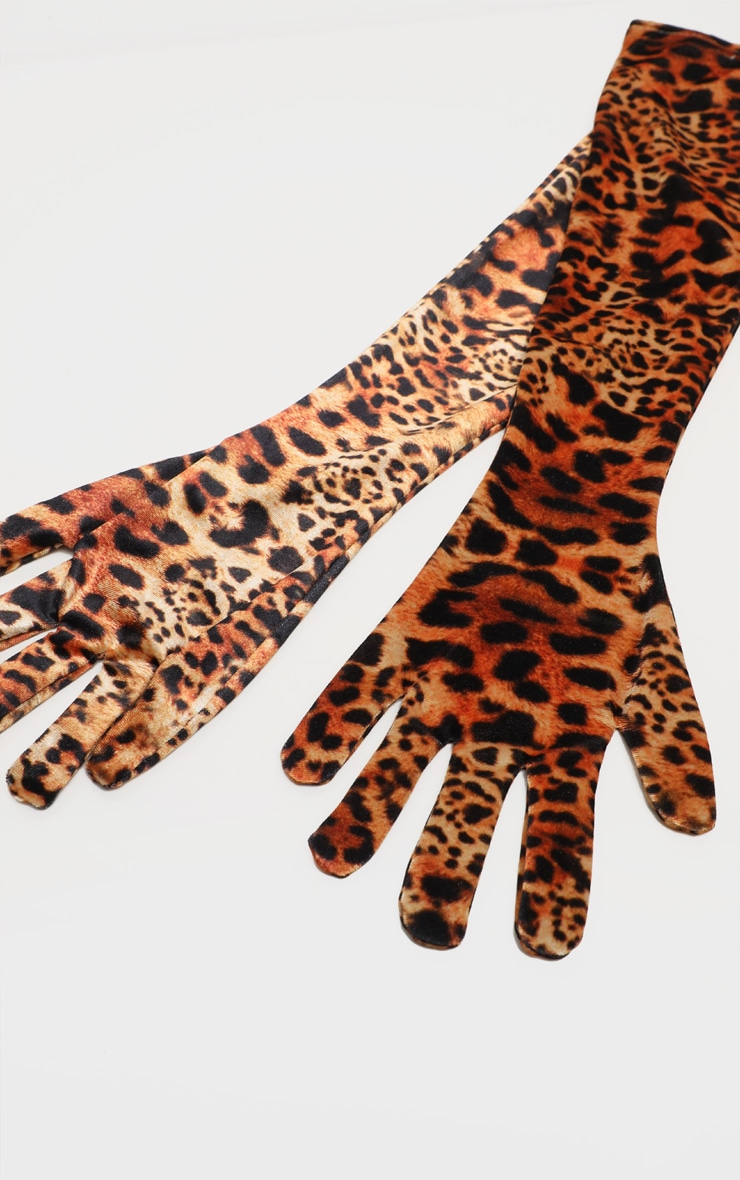 Leopard Velvet Long Gloves 4