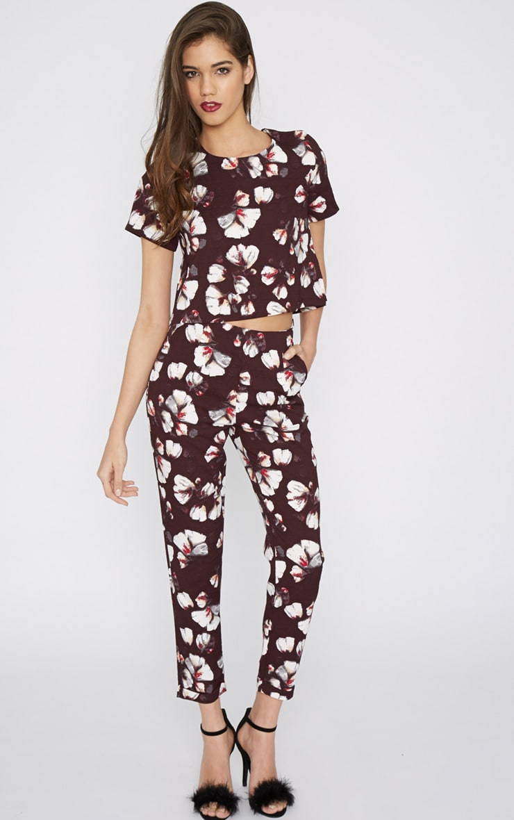 Michela Burgundy Floral Print Crop Top   4