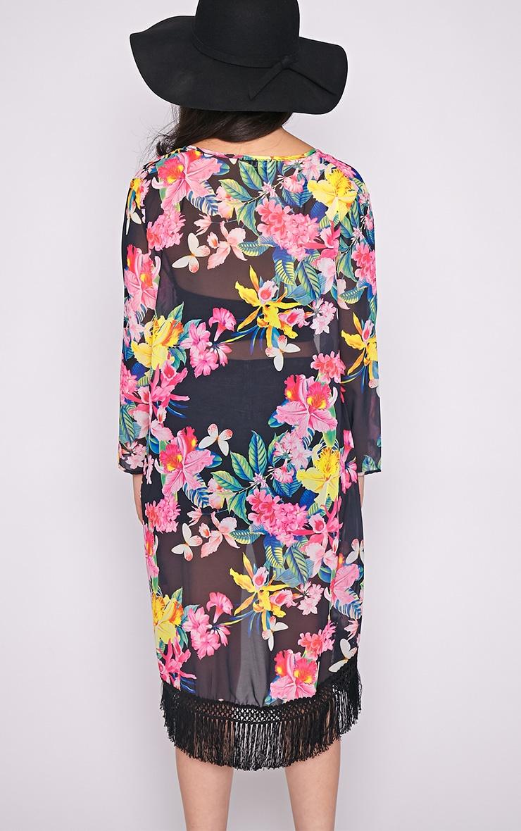 Taryn Multi Floral Tassel Trim Kimono  2