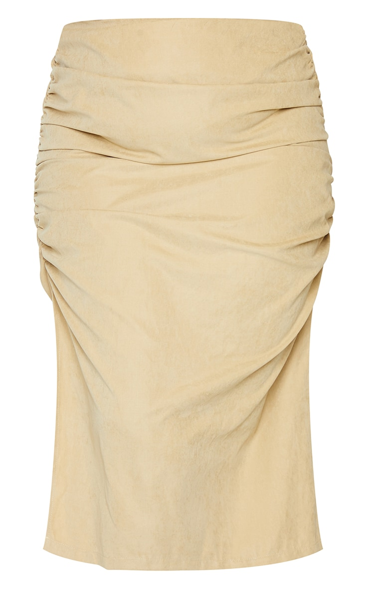 Plus Stone Suede Textured Ruched Midi Skirt 5