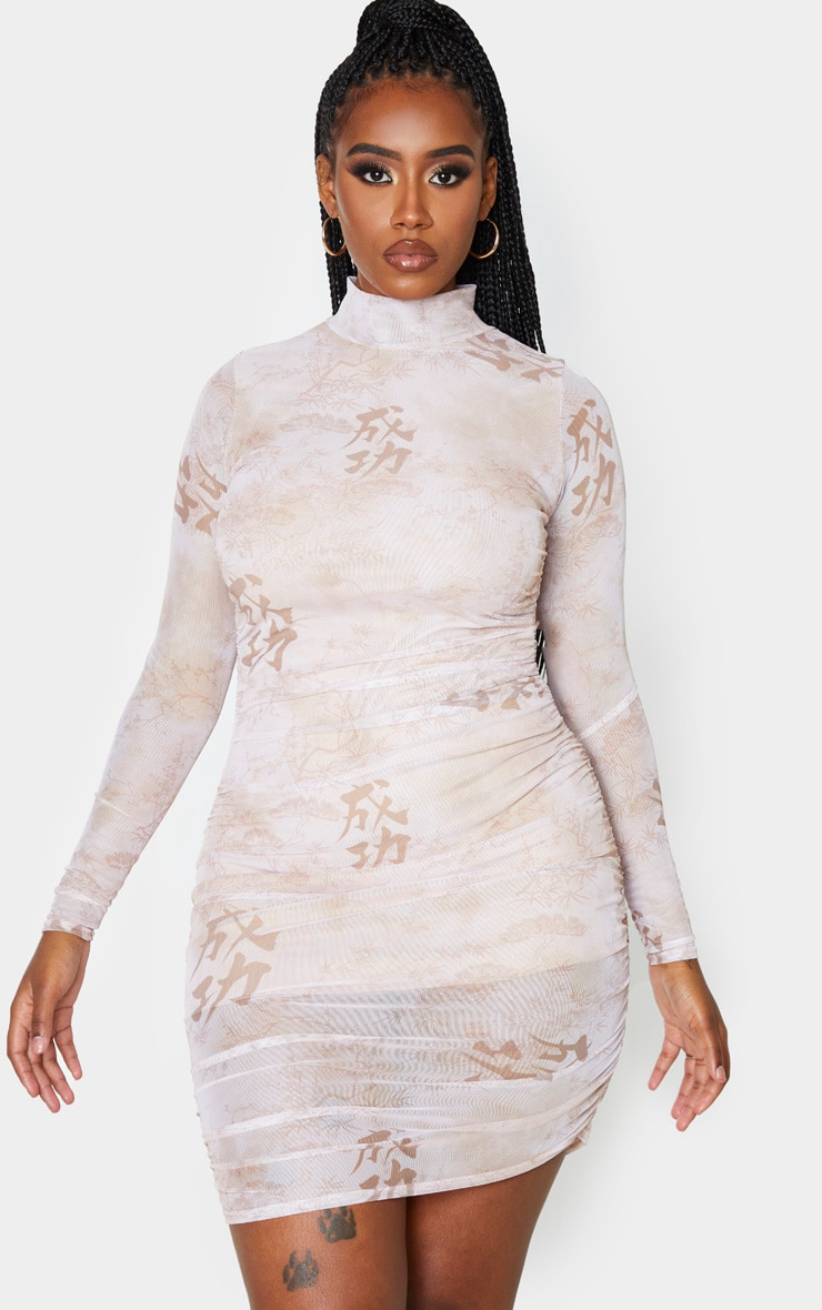 Shape Cream Oriental Printed Long Sleeved Bodycon Dress 4
