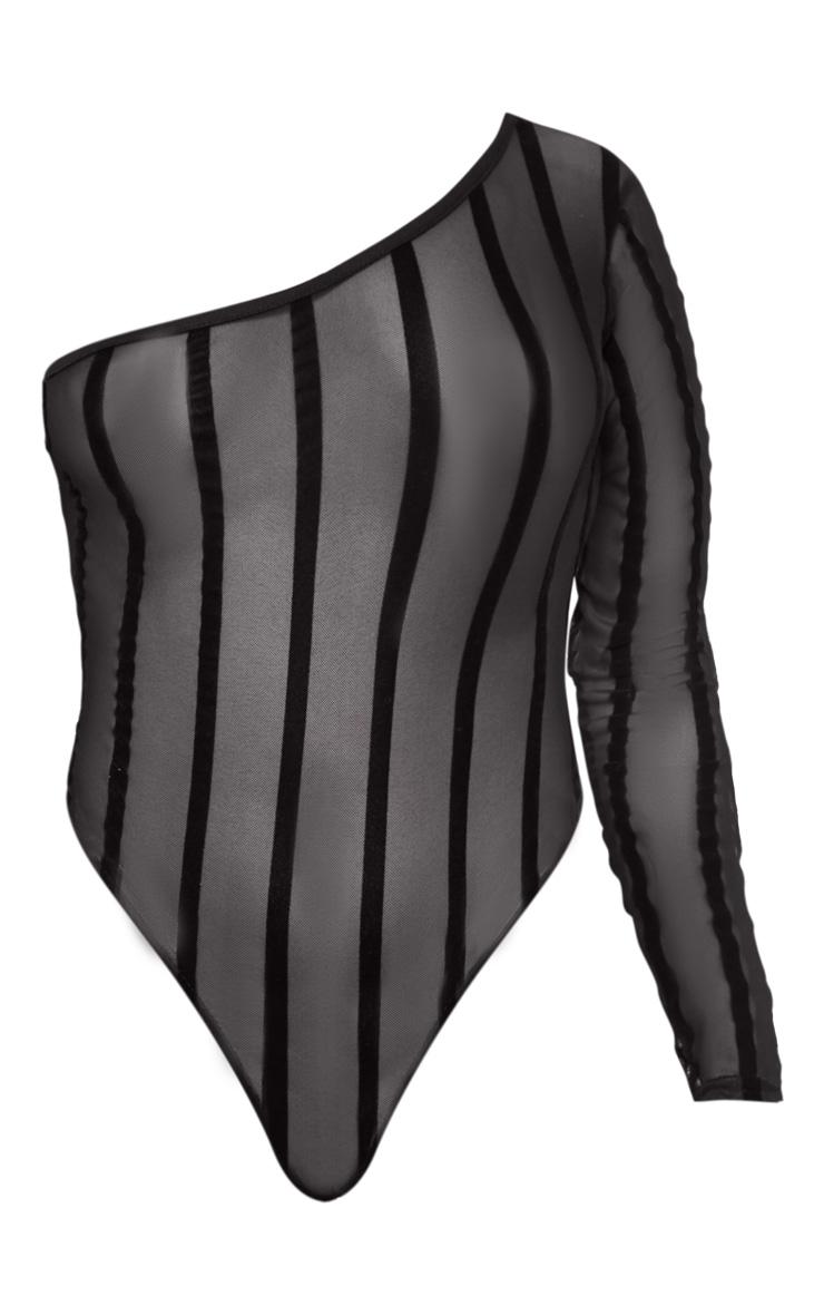 Black One Shoulder Mesh Velvet Stripe Bodysuit 3