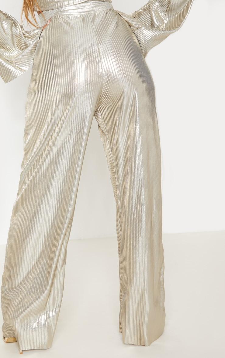 Gold Metallic Pleated Wide Leg Pants 5