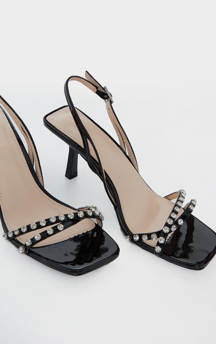 Black Low Heel Square Toe Diamante Strap Sandal 4