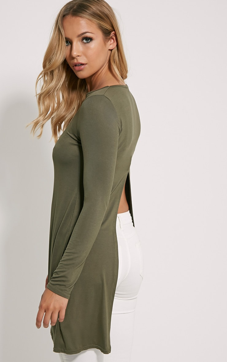 Eldora Khaki Longline Split Back Top 1